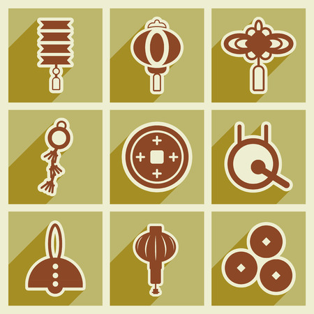 attributes: Stylish assembly icons of Japanese attributes