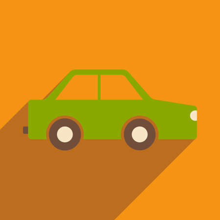 small business computer: Flat with shadow icon and mobile application toy car Illustration