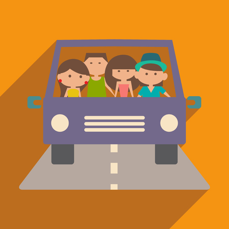 family and friends: Flat with shadow icon and mobile application friendly travel Illustration