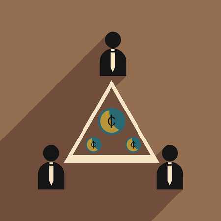 shadow people: Flat with shadow icon group of people coins Illustration
