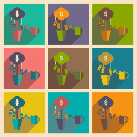 Modern flat icons vector collection with shadow Money Tree Sprinkle