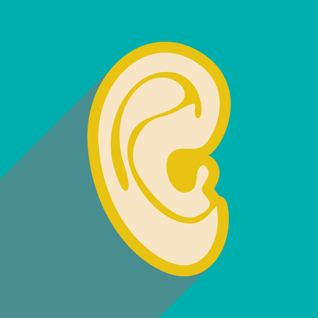 carious: Icon of human ear in flat style