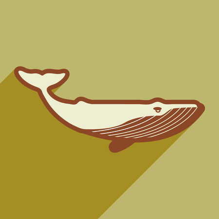 subaqueous: flat icon with long shadow great whale