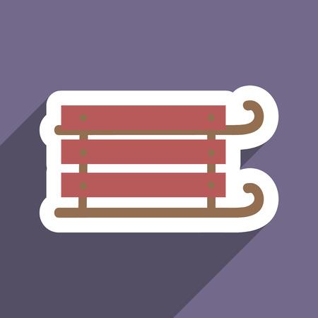 toboggan: flat icon with long shadow children sledges Illustration