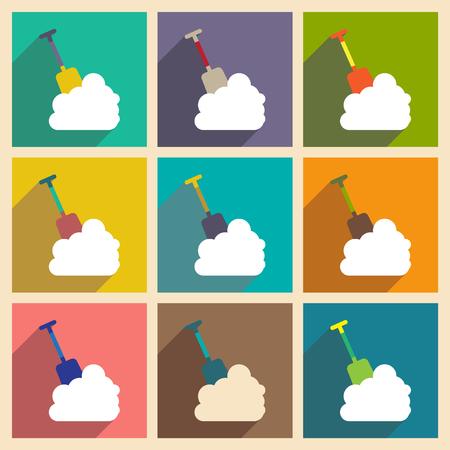 snowdrift: Set flat icons with long shadow snowdrift shovel