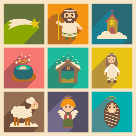 Mother Mary: Set flat icons with long shadow Christmas Illustration
