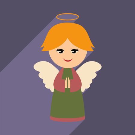 solo  christmas: flat icon with long shadow Christmas angel