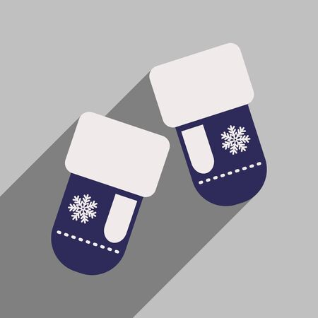 mittens: flat icon with long shadow mittens snowflakes Illustration