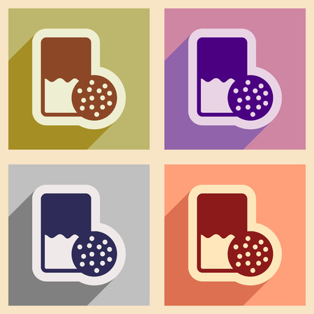 milk and cookies: Set of flat icons with shadow glass milk and cookies