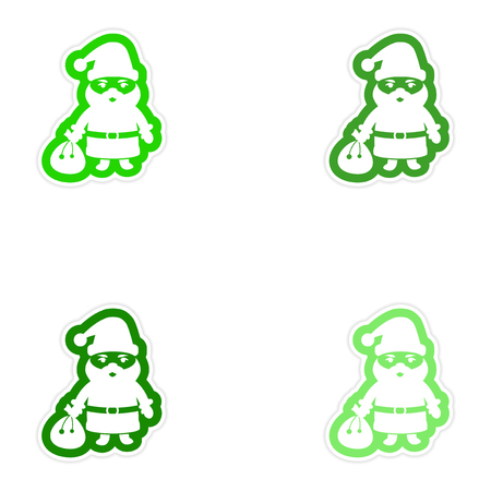 greybeard: Set of paper stickers on white background Santa Claus