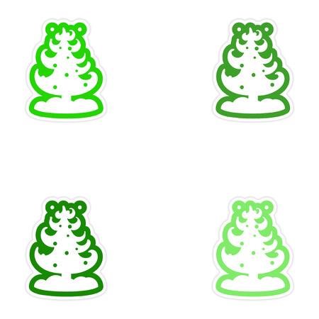 snow tree: Set of paper stickers on white background snow tree