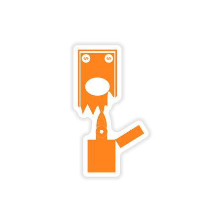 money to burn: stylish sticker on paper money to burn Illustration