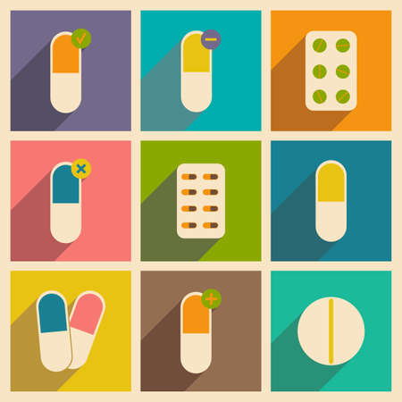 contraceptive: Flat with shadow concept and mobile application pharmaceutical drugs