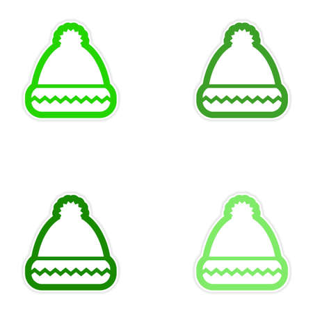 paper hats: Set of paper stickers on white background Santa hats