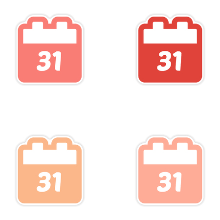 december 31: Set oof paper sticker on white background calendar December 31