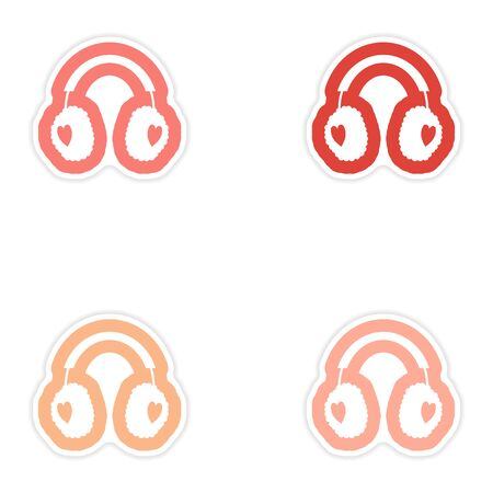 muff: Set of paper stickers on white background earmuffs hearts