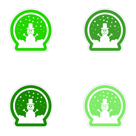 candid: Set of paper stickers on white background snowman snow globe