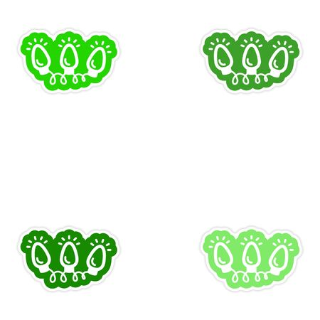 snow chain: Set of paper stickers on white background garland flashlights