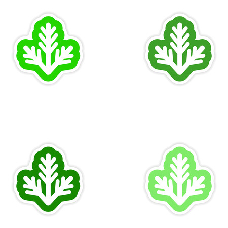 furtree: Set of paper stickers on white background fur-tree branch