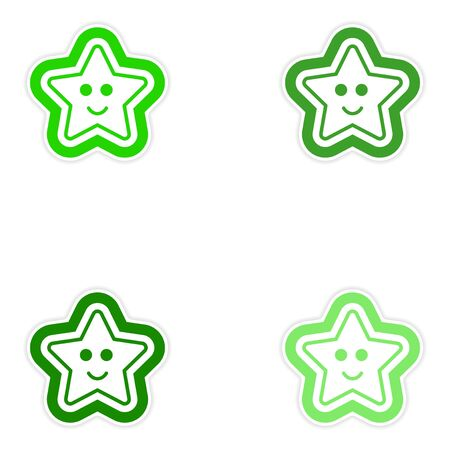 christmas cake: Set of paper stickers on white background Christmas cake
