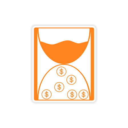 affluence: stylish sticker on paper hourglass and coins