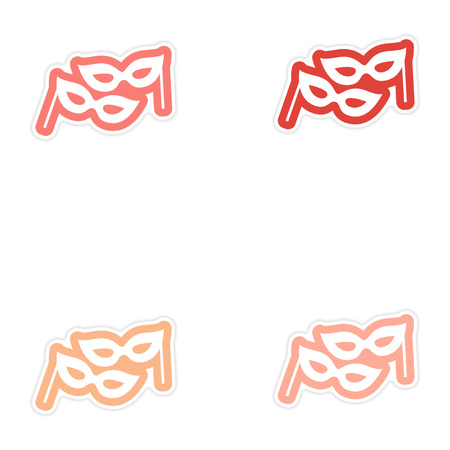 paper mask: Set of paper stickers on white background Christmas mask Illustration