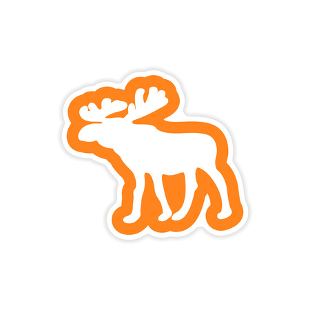 arctic: paper sticker on white background, Arctic moose