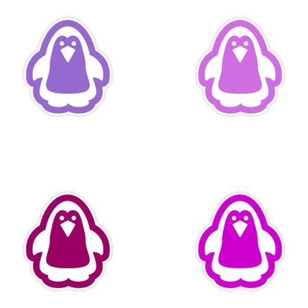 arctic penguin: Set of paper stickers on white background, Arctic penguin