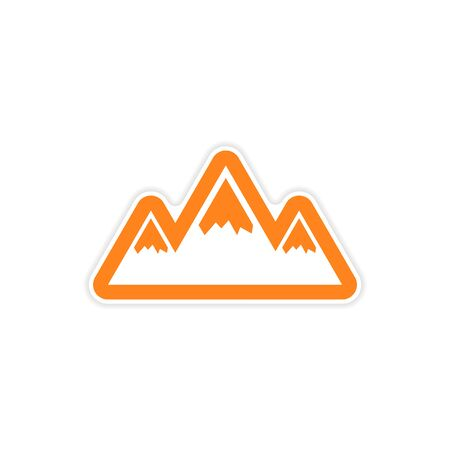 arctic: paper sticker on white background, Arctic mountains Illustration
