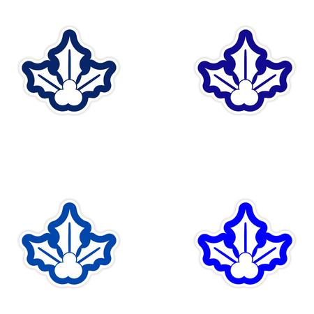 sprig: Set of paper stickers on white background, sprig mistletoe Illustration