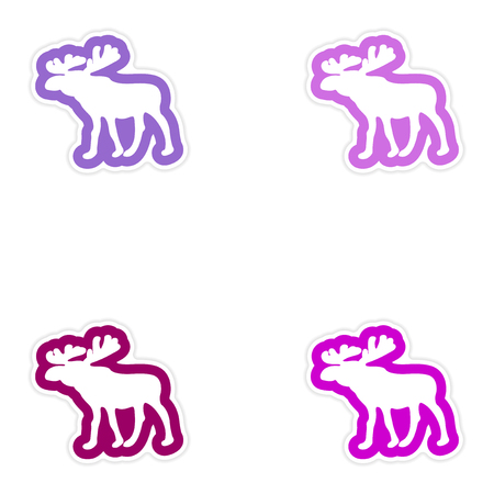 roebuck: Set of paper stickers on white background, Arctic moose Illustration