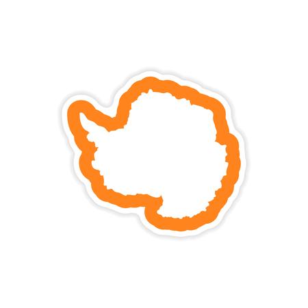 paper sticker on white background, Arctic map Çizim