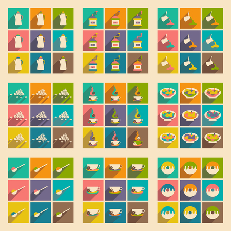 snack: Flat with shadow concept and mobile application, coffee snack Illustration