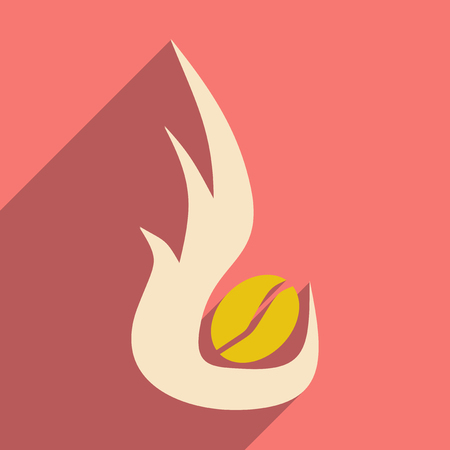 roasting: Flat with shadow icon and mobile application, coffee roasting