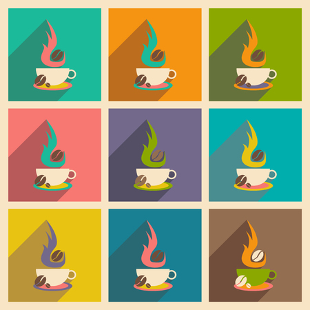 aroma: Flat with shadow concept and mobile application, coffee aroma