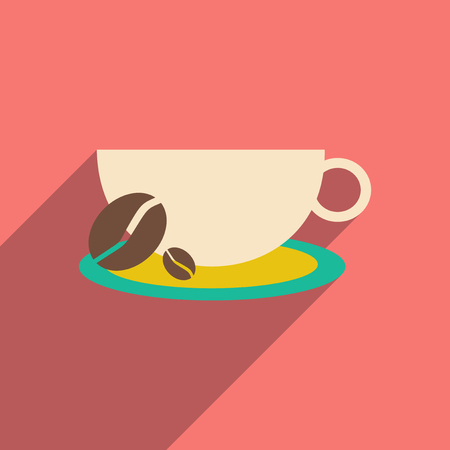 Flat with shadow icon and mobile application, demitasse