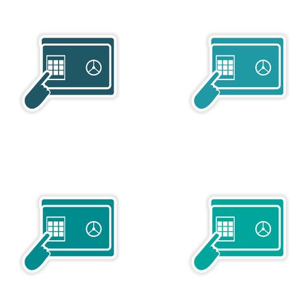 paper pin: Set of stylish sticker on paper, pin code password safe Illustration