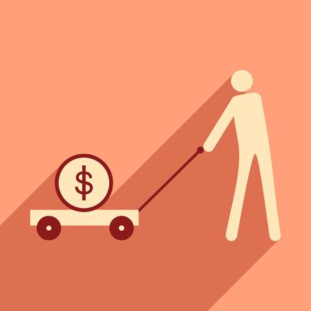 pig iron: Flat design modern illustration icon, Stick Figure economy