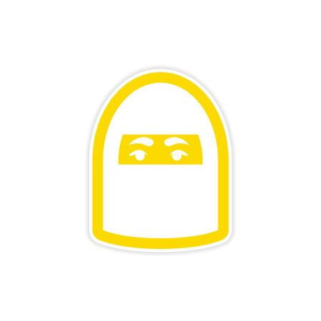 burqa: stylish paper sticker on white background, woman in burqa