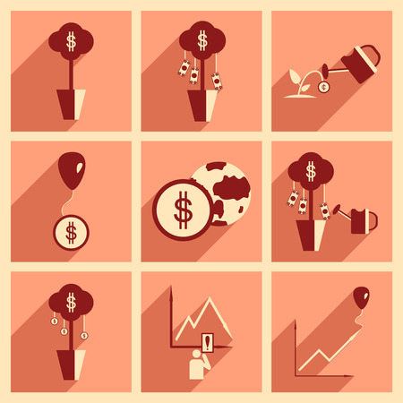 Modern flat icons collection with shadow, economy money income Illustration