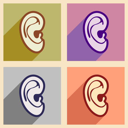 the human ear: Icons of assembly human ear in flat style
