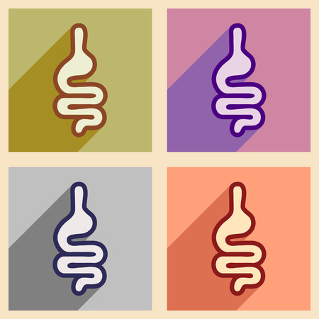descending colon: Icons of assembly human intestines in flat style
