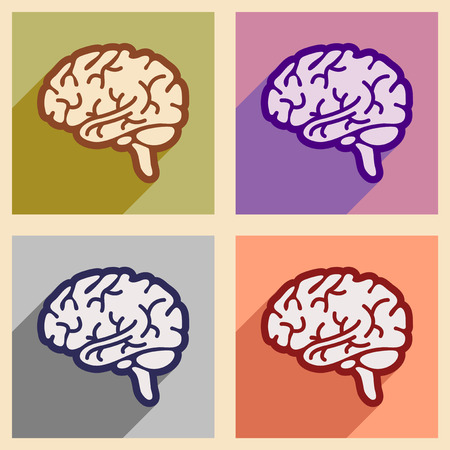 frontal lobe: Icons of assembly human brain in flat style