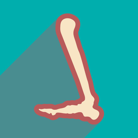 flat icon with long shadow, Human leg bone