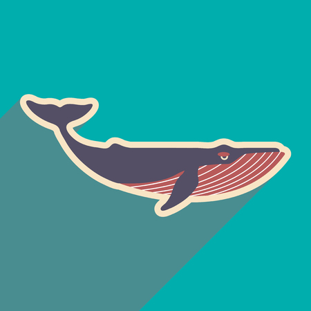 flat icon with long shadow, great whale