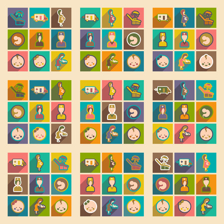 childbirth: Set flat icons with long shadow, Pregnancy and childbirth