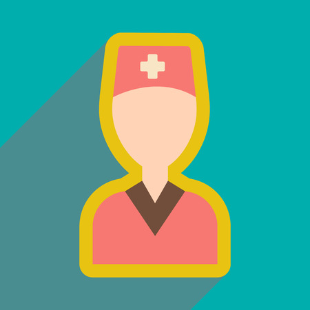 obstetrician: flat icon with long shadow, obstetrician doctor Illustration