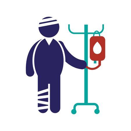 injured: Modern flat icon on white background, injured patient