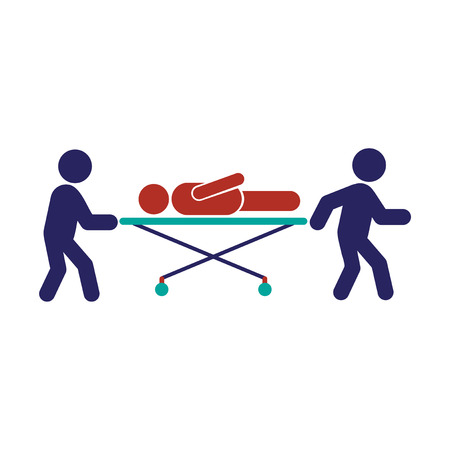 Modern flat icon on white background, patient on stretcher