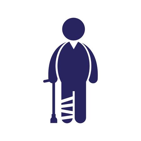 axillary: Modern flat icon on white background, People leg fracture Illustration